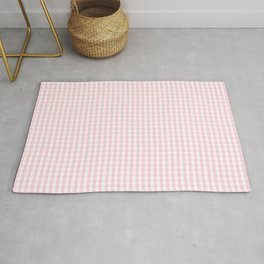Mini Soft Pastel Pink and White Gingham Check Plaid Rug