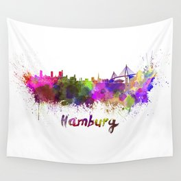Hamburg skyline in watercolor Wall Tapestry