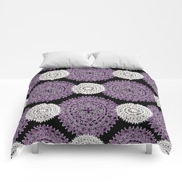 Pearl White and Purple Patterned Mandala Textile Comforters