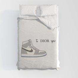 Jordan 1 Grey Valentine's day - I adore you Duvet Cover