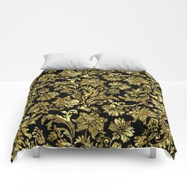 Black & Shiny Gold Vintage Floral Damasks Comforters