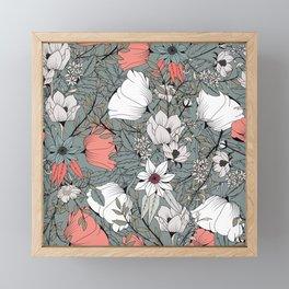 Seamless pattern design with hand drawn flowers and floral elements Framed Mini Art Print