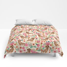 Dapple cream Dachshund doxie floral florals dog breed gifts for pupper must haves Comforters