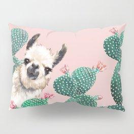 Llama and Cactus Pink Pillow Sham