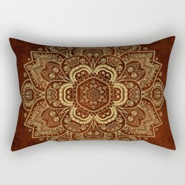 Gold Flower Mandala on Red Textured Background Rectangular Pillow