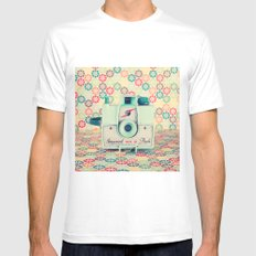 Film Mint Camera on a Colourful Retro Background  MEDIUM White Mens Fitted Tee