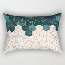 Teal and Cream Organic Hexagons Rectangular Pillow