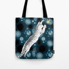 The cat and the firefly Tote Bag