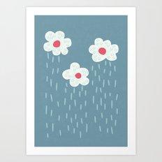 Rainy Flowery Clouds Art Print