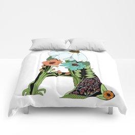 Floral Letter A Comforters