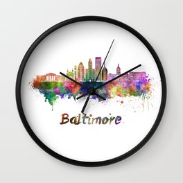 Baltimore skyline in watercolor Wall Clock