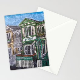 Six Sisters 3 - Napier, New Zealand. Oil Pastel Stationery Cards