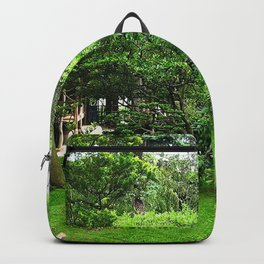 path garden statue stones lawn green Backpack