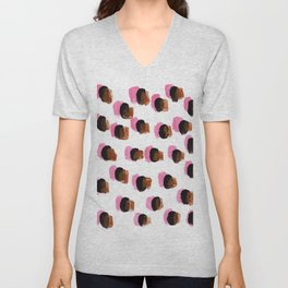 Abstract Pink Blots pattern Unisex V-Neck