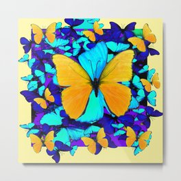 Blue & Yellow Butterfly  Potpourri Metal Print