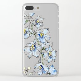 Blue Delphinium Flowers Clear iPhone Case