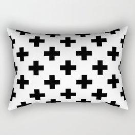 Black & White Plus Sign Pattern Rectangular Pillow