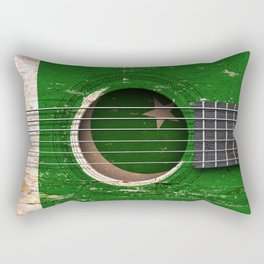 Old Vintage Acoustic Guitar with Pakistani Flag Rectangular Pillow