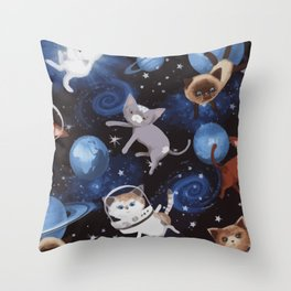 Cats on the Space Throw Pillow