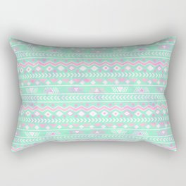 Pink teal watercolor tribal geometrical pattern Rectangular Pillow