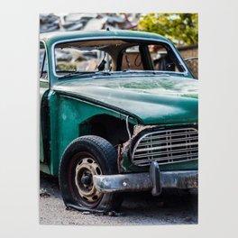 Smashed vintage car Poster