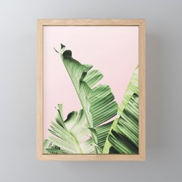 Banana Leaf on pink Framed Mini Art Print