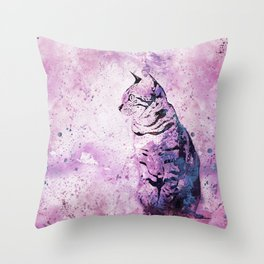 Pink Watercolor Cat Painting Throw Pillow