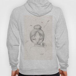 Lucky Kitty (Girl with Japanese Fortune Cat on Shoulder Drawing) Hoody