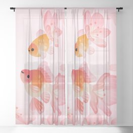 Cherry blossom goldfish Sheer Curtain