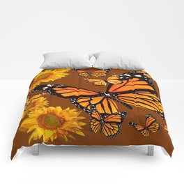 MONARCH BUTTERFLIES & GOLDEN SUNFLOWERS ON COFFEE BROWN Comforters