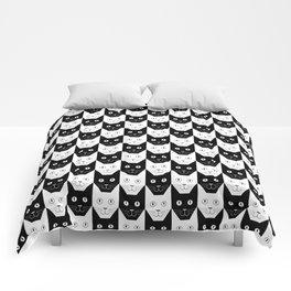 Black cat, white cat Comforters