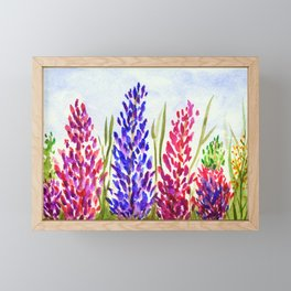 Watercolor Floral Art, Lupine Wildflowers Framed Mini Art Print