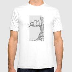 Three owls in a tree MEDIUM White Mens Fitted Tee