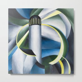 Variation on a Lighthouse landscape painting by Ida O'Keeffe Metal Print