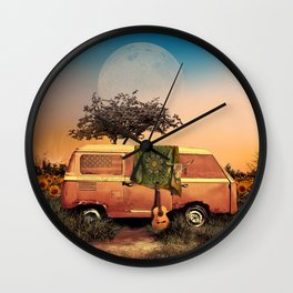 summer sunset landscape with skull and guitar Wall Clock