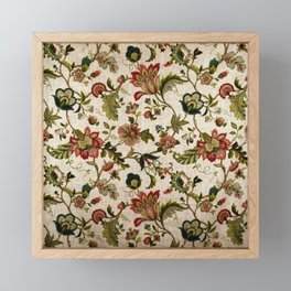 Red Green Jacobean Floral Embroidery Pattern Framed Mini Art Print