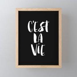 C'est La Vie black and white watercolor typography wall art home decor handwritten bedroom art inspo Framed Mini Art Print