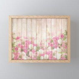Beautiful Pink Tulip Floral Vintage Shabby Chic Framed Mini Art Print