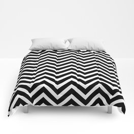 Chevron Pattern - Black and White Comforters