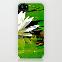Frog with lily flower reflection iPhone Case