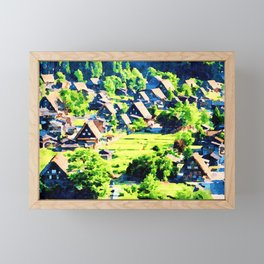Watercolor of Shirakawa-go,gasshozukuri farmhouses Framed Mini Art Print