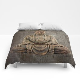 Sitting Buddha On Distressed Metal Background Comforters