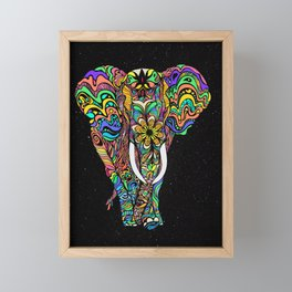 Cosmic elephant love Framed Mini Art Print