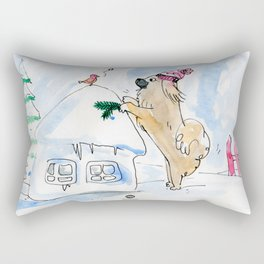 Winter Wonderland Tibbie in a Knitted Hat Enjoying the Snowy Day Rectangular Pillow