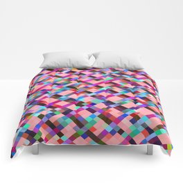 geometric pixel square pattern abstract background in pink purple blue yellow green Comforters