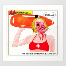 Zombie Lifeguard Art Print