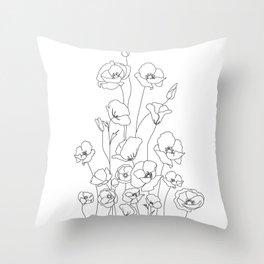 Poppy Flowers Line Art Throw Pillow