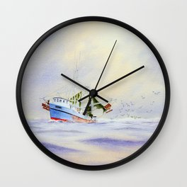 Shrimp Boat On The Gulf Wall Clock