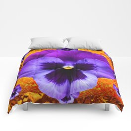 PURPLE COLORED SPRING PANSY DESIGN Comforters