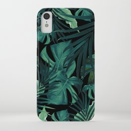 Tropical Jungle Night Leaves Pattern #1 #tropical #decor #art #society6 iPhone Case